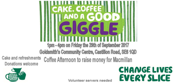 Cake and Community against Cancer – Friday 29th September 2017